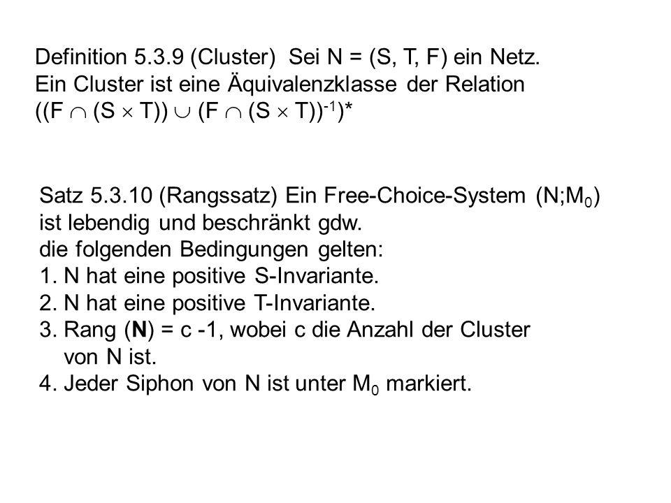 Definition 5.3.9 (Cluster) Sei N = (S, T, F) ein Netz. Ein Cluster ist eine Äquivalenzklasse der Relation ((F (S T)) (F (S T)) -1 )* Satz 5.3.10 (Rang