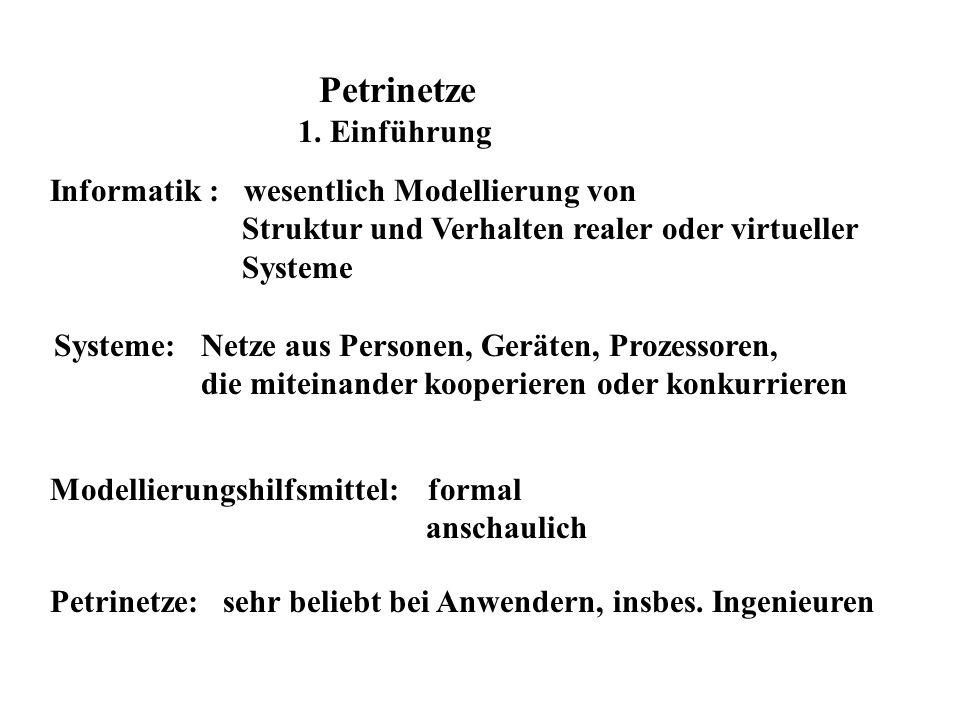 Einführendes Beispiel (Reisig / Rozenberg : Informal Introduction to Petri Nets, LNCS 1491, SS 1 - 11)