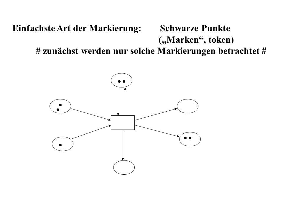 Einfachste Art der Markierung: Schwarze Punkte (Marken, token) # zunächst werden nur solche Markierungen betrachtet #