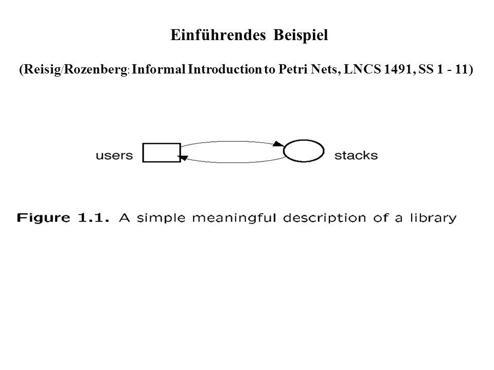 Eigenschaften markierter Netze Markiertes Netz (Netzsystem): (N,m) Netz N mit (Anfangs)markierung m Markierung m´ heißt erreichbar in (N,m), wenn es eine bei m aktivierte Schaltfolge mit m[ > m´ gibt.