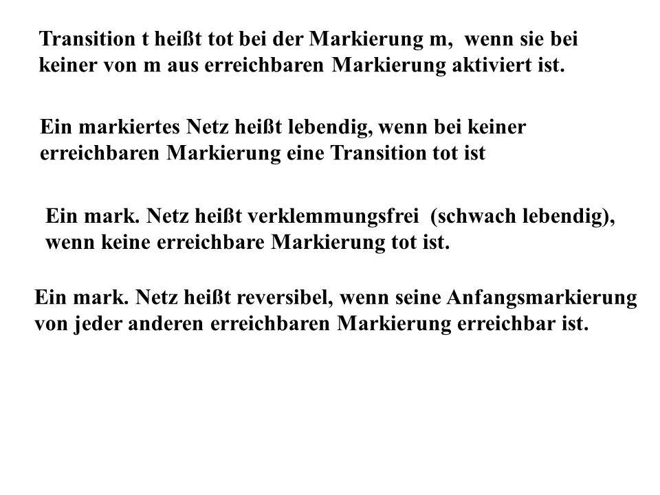 Transition t heißt tot bei der Markierung m, wenn sie bei keiner von m aus erreichbaren Markierung aktiviert ist.