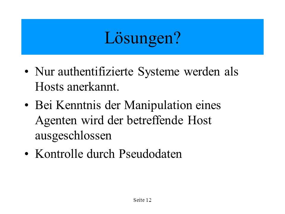 Seite 12 Lösungen. Nur authentifizierte Systeme werden als Hosts anerkannt.