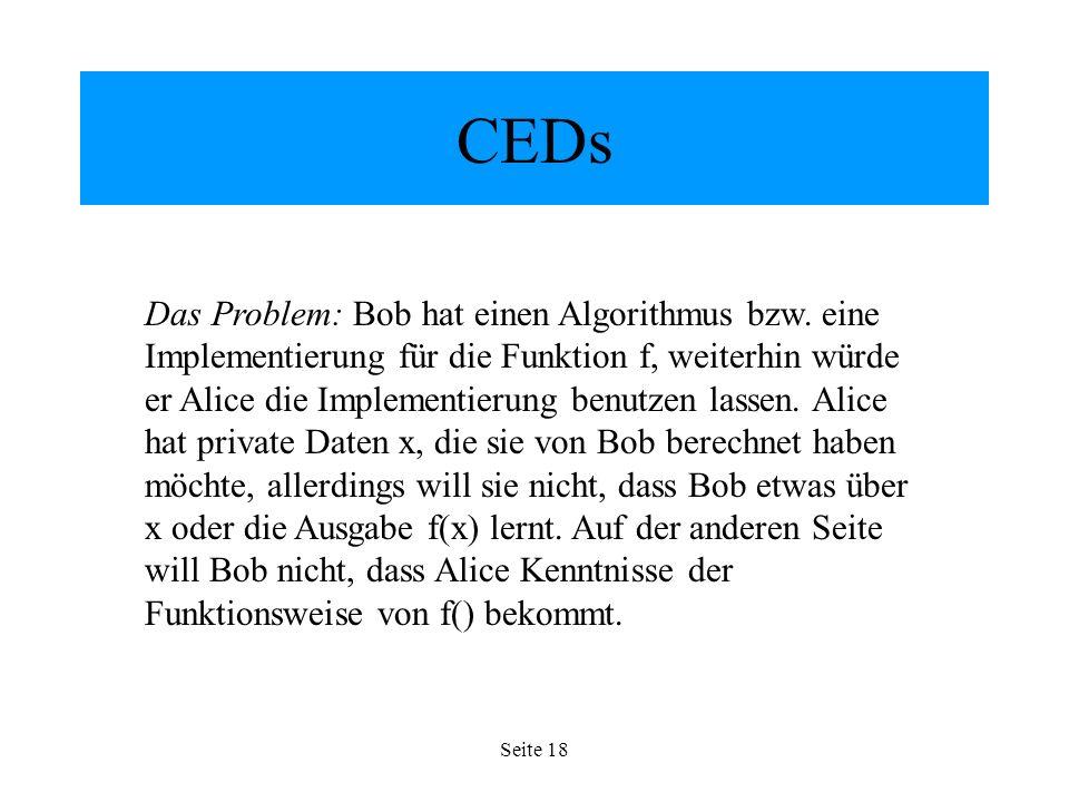 Seite 18 CEDs Das Problem: Bob hat einen Algorithmus bzw.