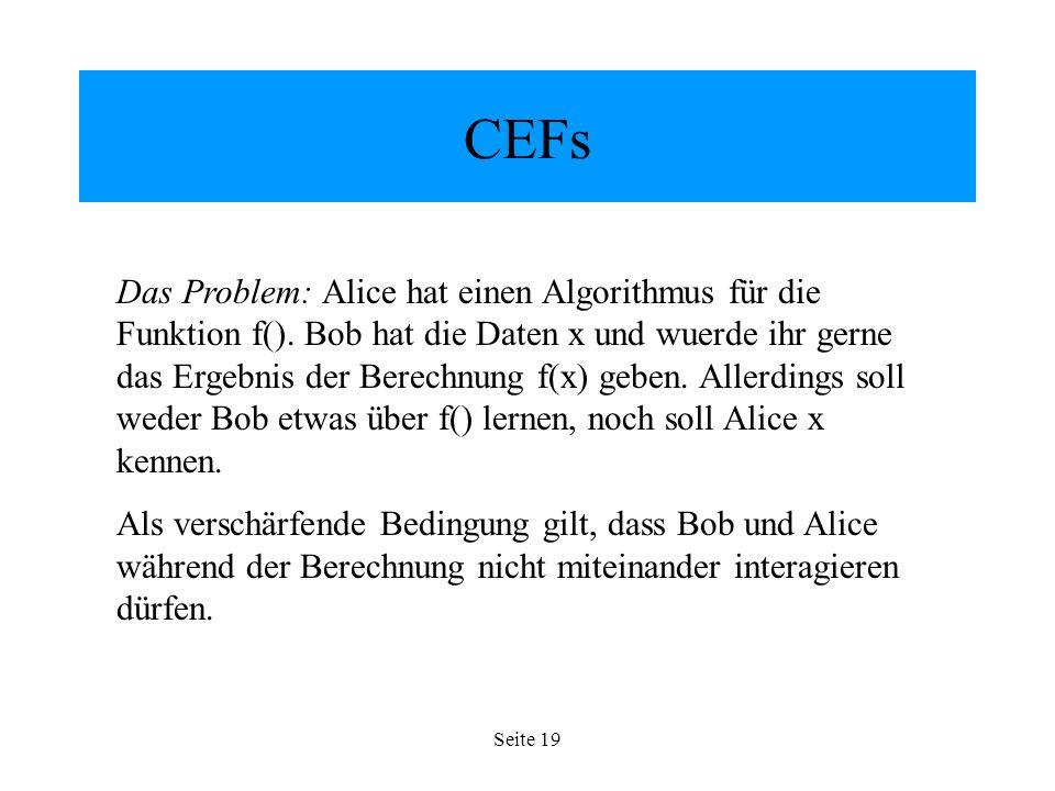 Seite 19 CEFs Das Problem: Alice hat einen Algorithmus für die Funktion f().
