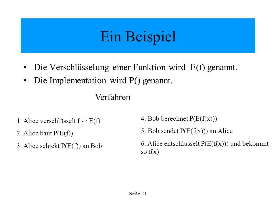 Seite 21 Ein Beispiel Die Verschlüsselung einer Funktion wird E(f) genannt.