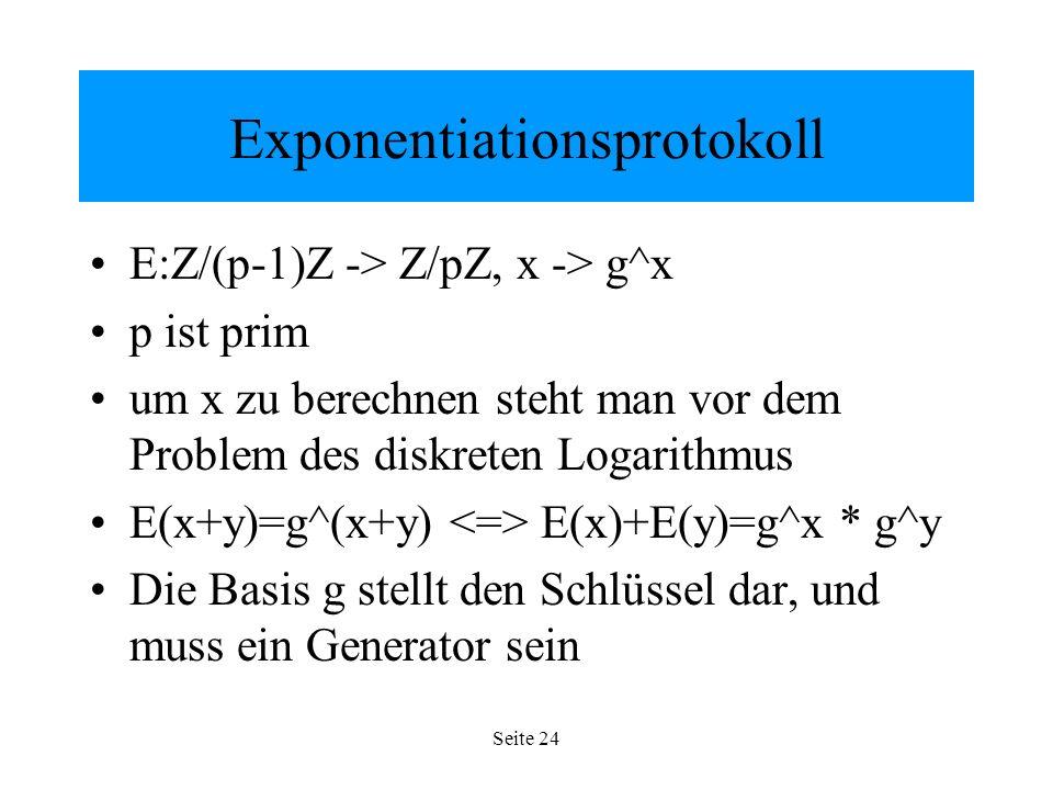 Seite 24 Exponentiationsprotokoll E:Z/(p-1)Z -> Z/pZ, x -> g^x p ist prim um x zu berechnen steht man vor dem Problem des diskreten Logarithmus E(x+y)=g^(x+y) E(x)+E(y)=g^x * g^y Die Basis g stellt den Schlüssel dar, und muss ein Generator sein