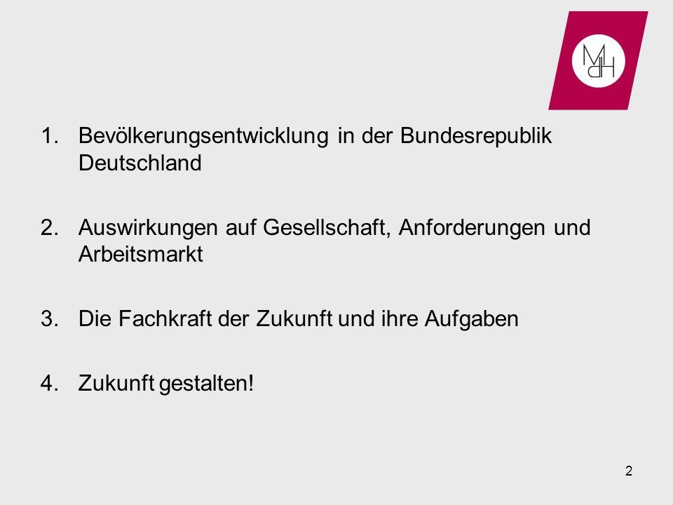 1.Bevölkerungsentwicklung in der Bundesrepublik Deutschland 2.Auswirkungen auf Gesellschaft, Anforderungen und Arbeitsmarkt 3.Die Fachkraft der Zukunf