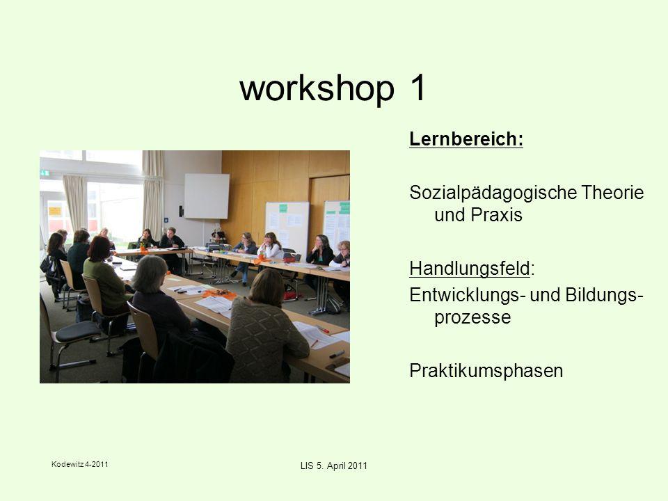 Kodewitz 4-2011 LIS 5. April 2011 workshop 1