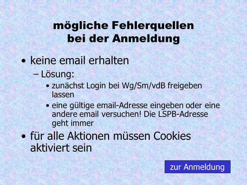 mögliche Fehlerquellen bei der Anmeldung keine email erhalten –Lösung: zunächst Login bei Wg/Sm/vdB freigeben lassen eine gültige email-Adresse eingeben oder eine andere email versuchen.