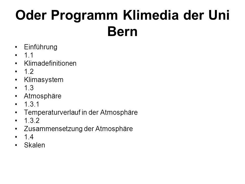 Oder Programm Klimedia der Uni Bern Einführung 1.1 Klimadefinitionen 1.2 Klimasystem 1.3 Atmosphäre 1.3.1 Temperaturverlauf in der Atmosphäre 1.3.2 Zu
