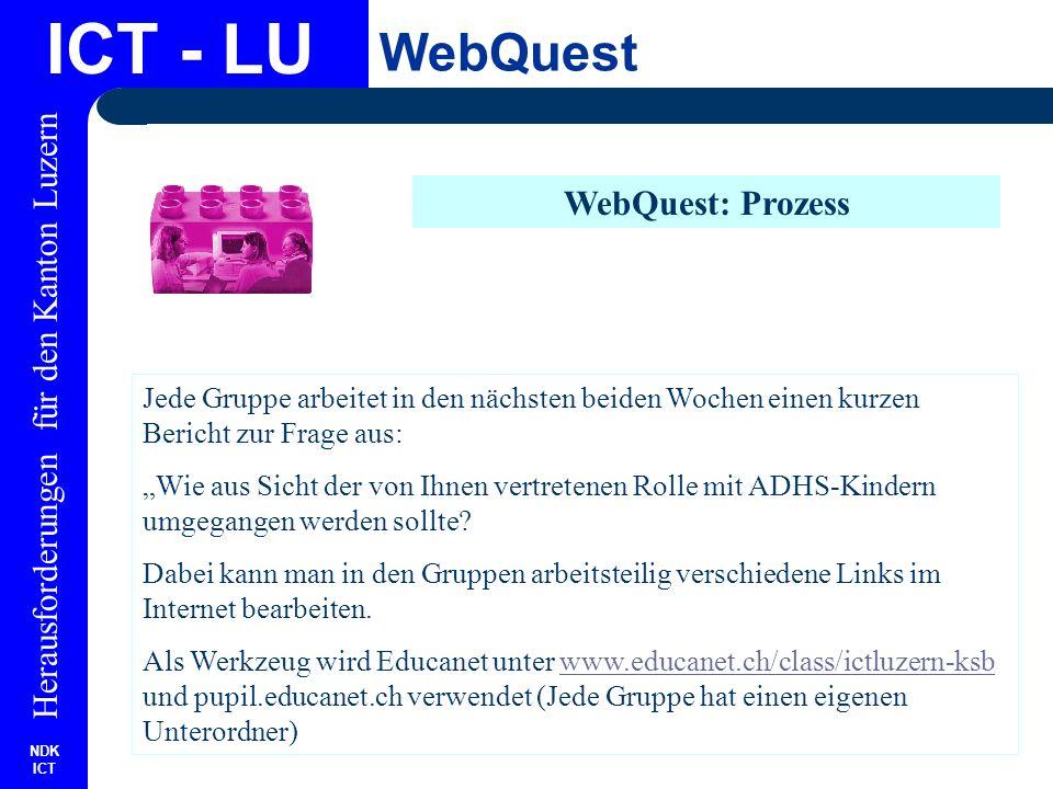 NDK ICT Herausforderungen für den Kanton Luzern ICT - LU WebQuest WebQuest: Prozess Jede Gruppe arbeitet in den nächsten beiden Wochen einen kurzen Bericht zur Frage aus: Wie aus Sicht der von Ihnen vertretenen Rolle mit ADHS-Kindern umgegangen werden sollte.