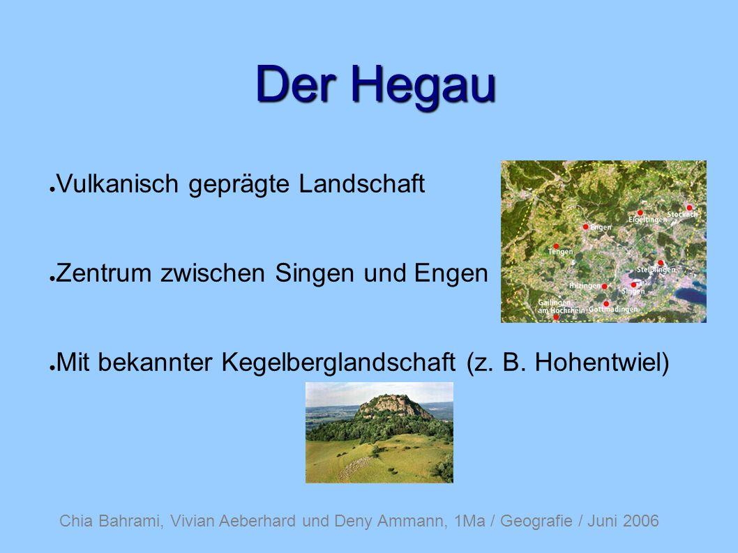Chia Bahrami, Vivian Aeberhard und Deny Ammann, 1Ma / Geografie / Juni 2006 Der Hegau Vulkanisch geprägte Landschaft Zentrum zwischen Singen und Engen Mit bekannter Kegelberglandschaft (z.