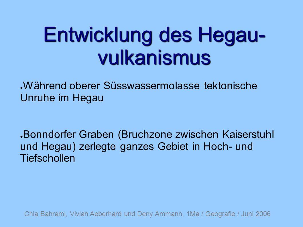 Chia Bahrami, Vivian Aeberhard und Deny Ammann, 1Ma / Geografie / Juni 2006 Entwicklung des Hegau- vulkanismus Viele flüchtige Bestandteile in Magma Dadurch vorwiegend Hornblendetuffe und Biotit.
