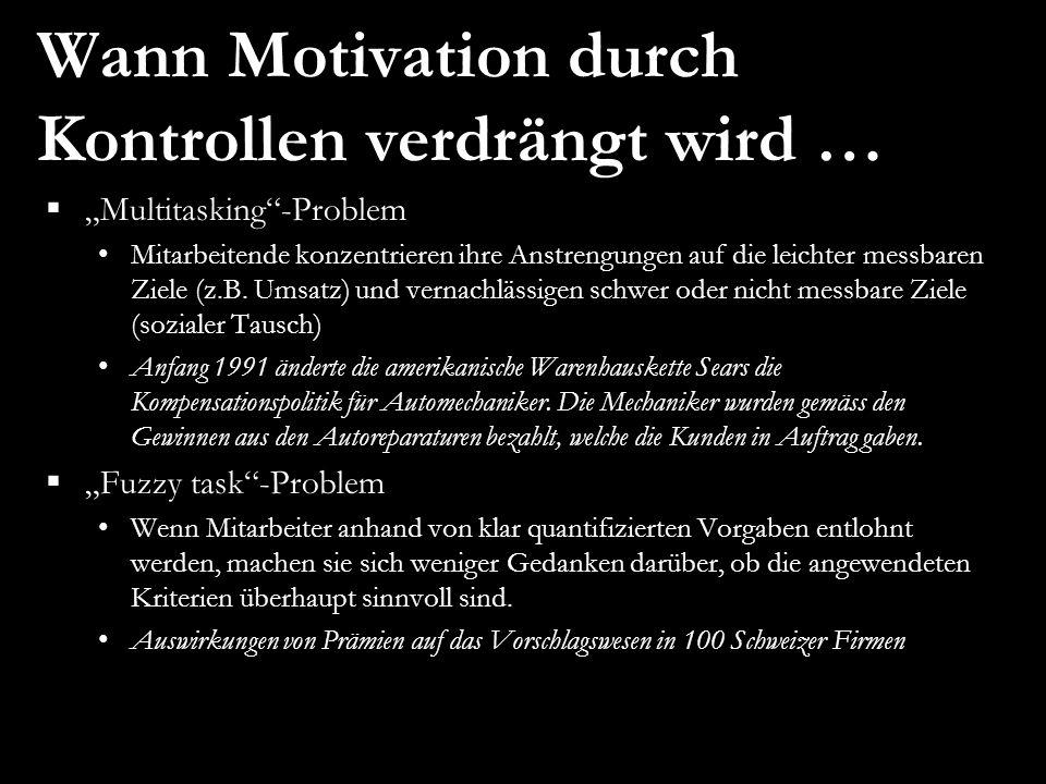 Wann Motivation durch Kontrollen verdrängt wird … Multitasking-Problem Mitarbeitende konzentrieren ihre Anstrengungen auf die leichter messbaren Ziele (z.B.