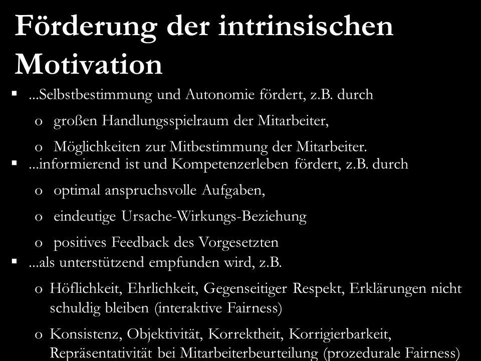 Förderung der intrinsischen Motivation...informierend ist und Kompetenzerleben fördert, z.B.