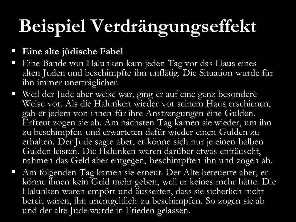 Beispiel Verdrängungseffekt Eine alte jüdische Fabel Eine Bande von Halunken kam jeden Tag vor das Haus eines alten Juden und beschimpfte ihn unflätig.