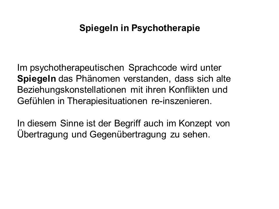 Spiegeln in Psychotherapie Im psychotherapeutischen Sprachcode wird unter Spiegeln das Phänomen verstanden, dass sich alte Beziehungskonstellationen mit ihren Konflikten und Gefühlen in Therapiesituationen re-inszenieren.