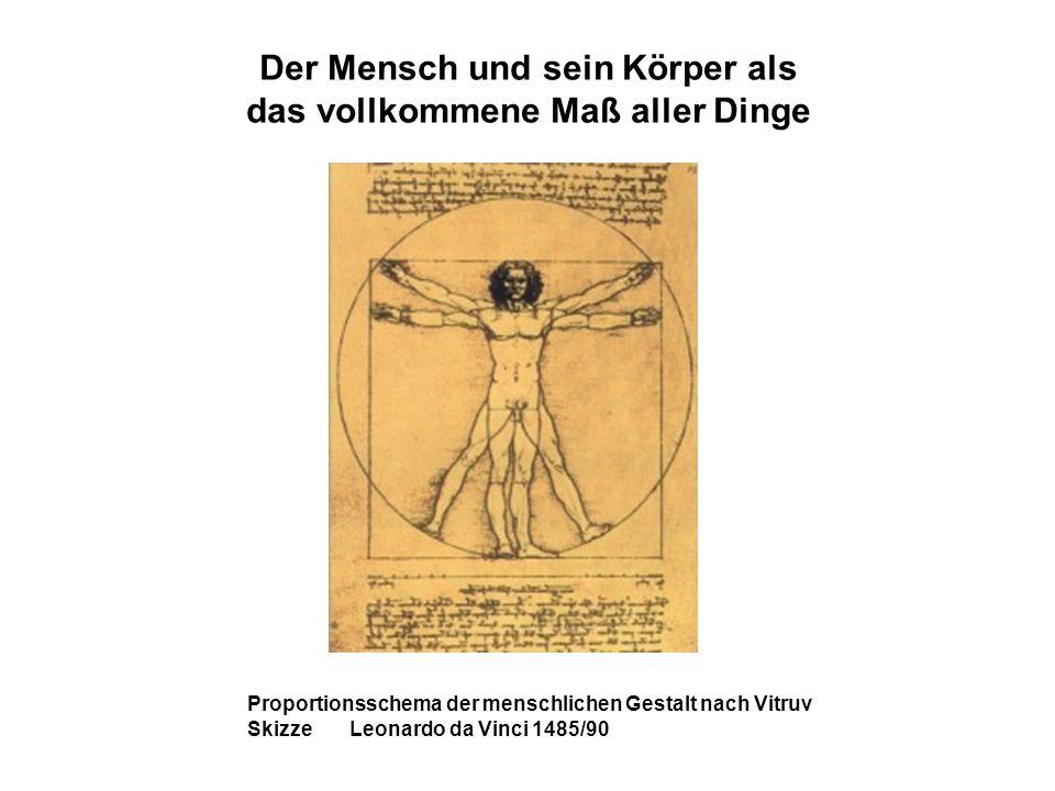 Der Mensch und sein Körper als das vollkommene Maß aller Dinge Proportionsschema der menschlichen Gestalt nach Vitruv Skizze Leonardo da Vinci 1485/90