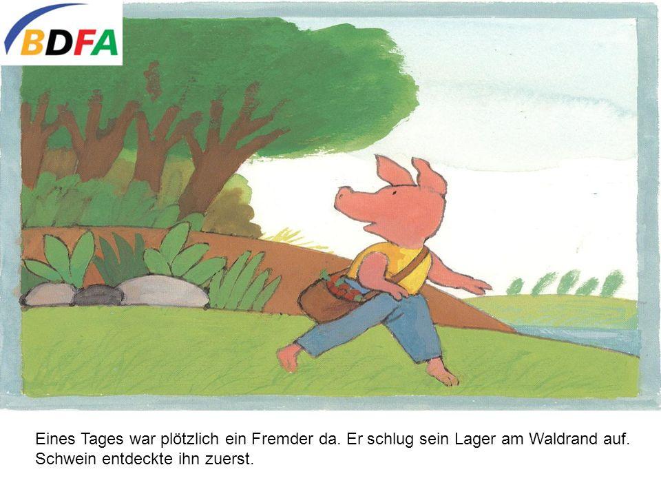 Habt ihr ihn schon gesehen.fragte Schwein aufgeregt, als sie Frosch und Ente traf.