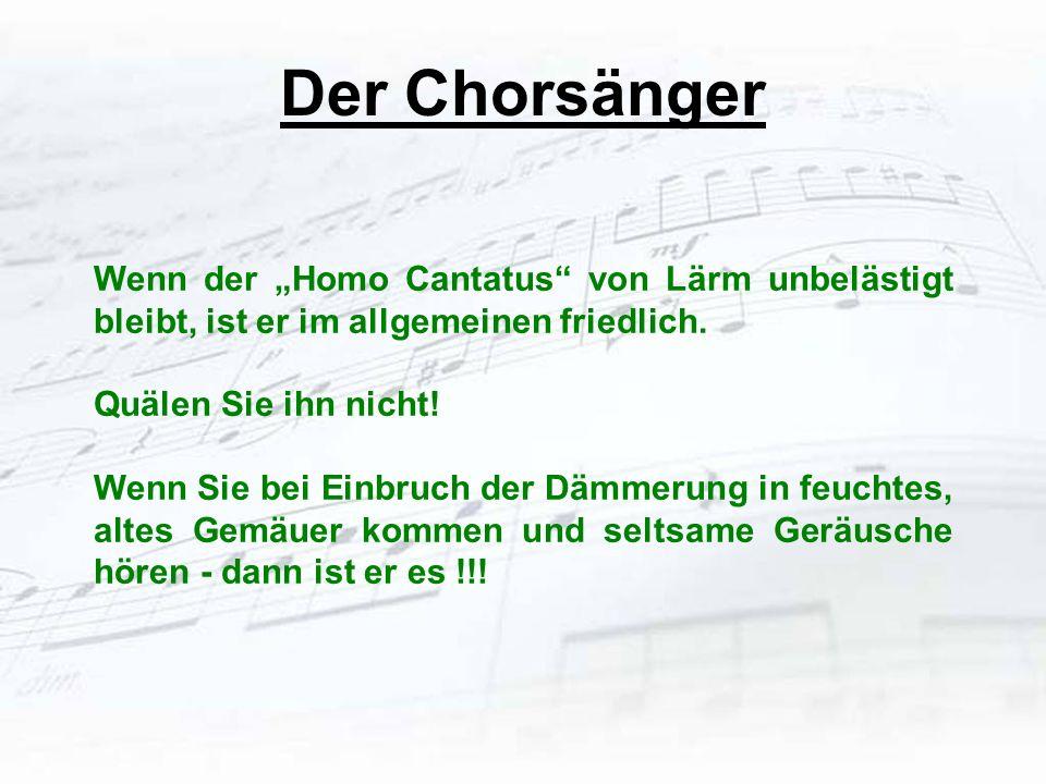Der Chorsänger Wenn der Homo Cantatus von Lärm unbelästigt bleibt, ist er im allgemeinen friedlich. Quälen Sie ihn nicht! Wenn Sie bei Einbruch der Dä