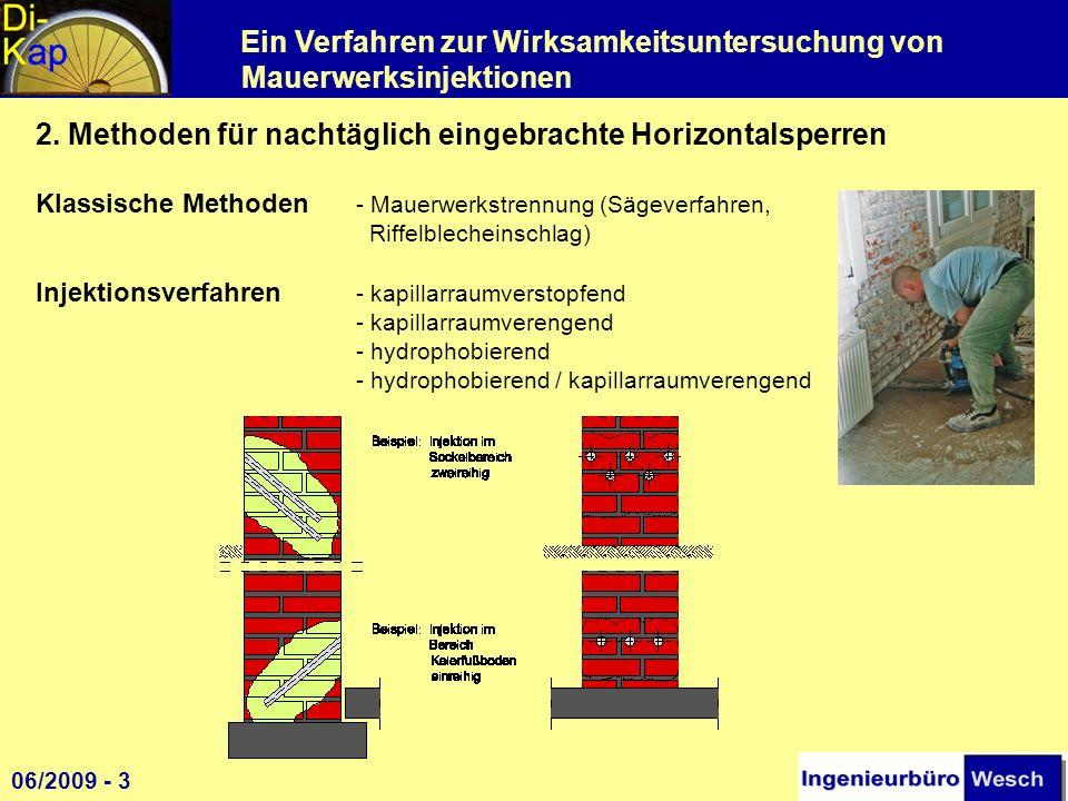 Ein Verfahren zur Wirksamkeitsuntersuchung von Mauerwerksinjektionen 2. Methoden für nachtäglich eingebrachte Horizontalsperren Klassische Methoden -