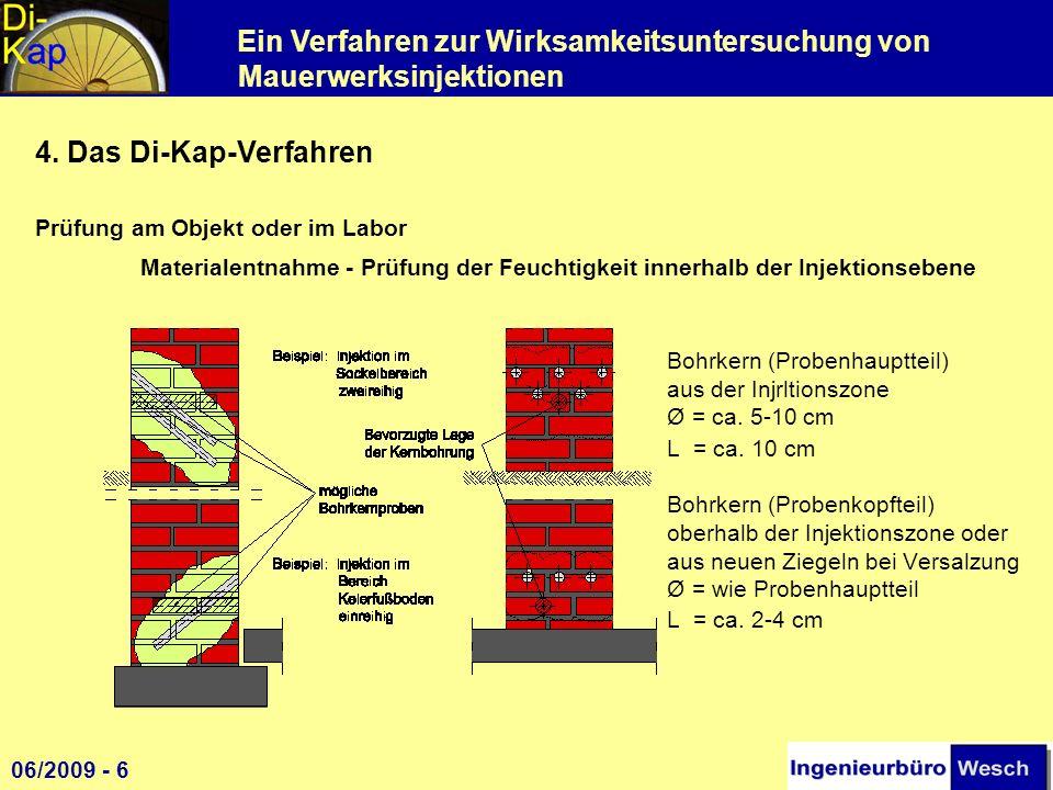 Ein Verfahren zur Wirksamkeitsuntersuchung von Mauerwerksinjektionen 4. Das Di-Kap-Verfahren Prüfung am Objekt oder im Labor Materialentnahme - Prüfun