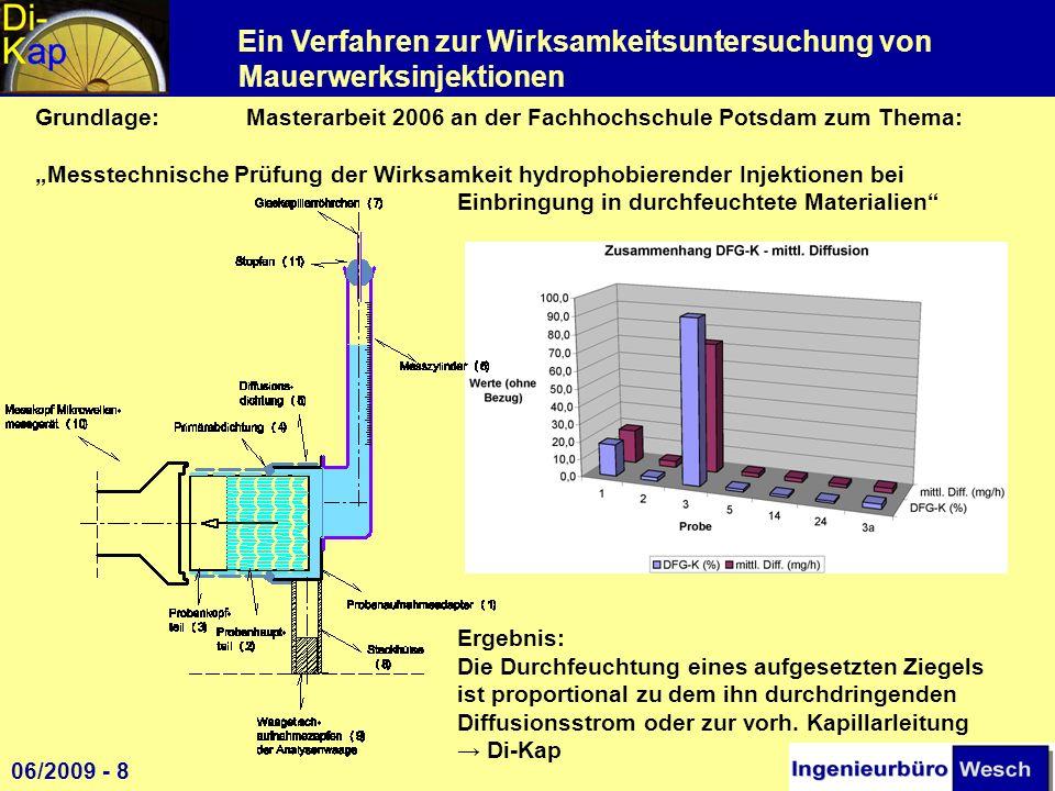 Ein Verfahren zur Wirksamkeitsuntersuchung von Mauerwerksinjektionen EU-Projekt Erosion and Humidity am Thormannspeicher (Hafen Wismar) 2004-2006 zur Feststellung der Anwendungsgrenzen von Injektionsverfahren - 6 Injektionsmittelhersteller injizierten 6 Messfelder - umfangreiche Vor- und Nachuntersuchungen 2008 Weitergehende Untersuchungen (Di-Kap) 1 06/2009 - 9