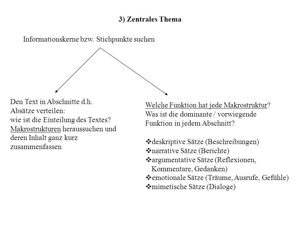 3) Zentrales Thema Informationskerne bzw. Stichpunkte suchen Den Text in Abschnitte d.h. Absätze verteilen: wie ist die Einteilung des Textes? Makrost