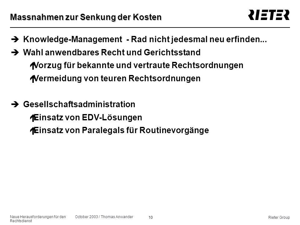Neue Herausforderungen für den Rechtsdienst October 2003 / Thomas Anwander 10Rieter Group Massnahmen zur Senkung der Kosten èKnowledge-Management - Ra