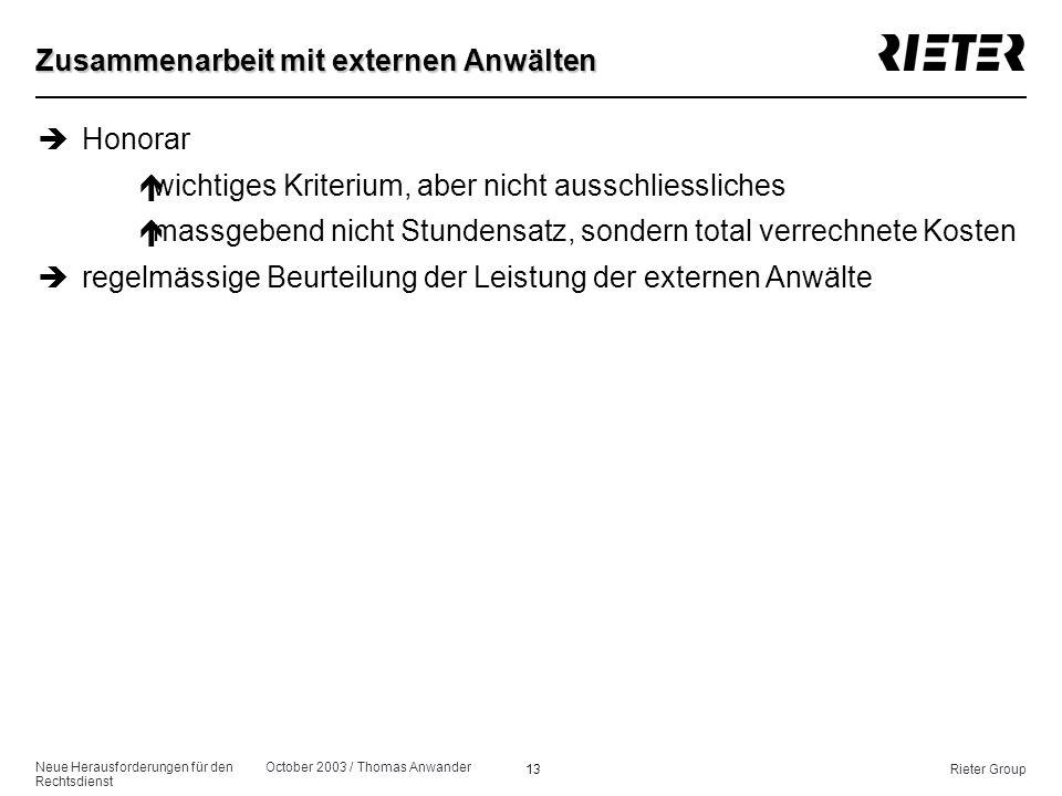 Neue Herausforderungen für den Rechtsdienst October 2003 / Thomas Anwander 13Rieter Group Zusammenarbeit mit externen Anwälten èHonorar éwichtiges Kri