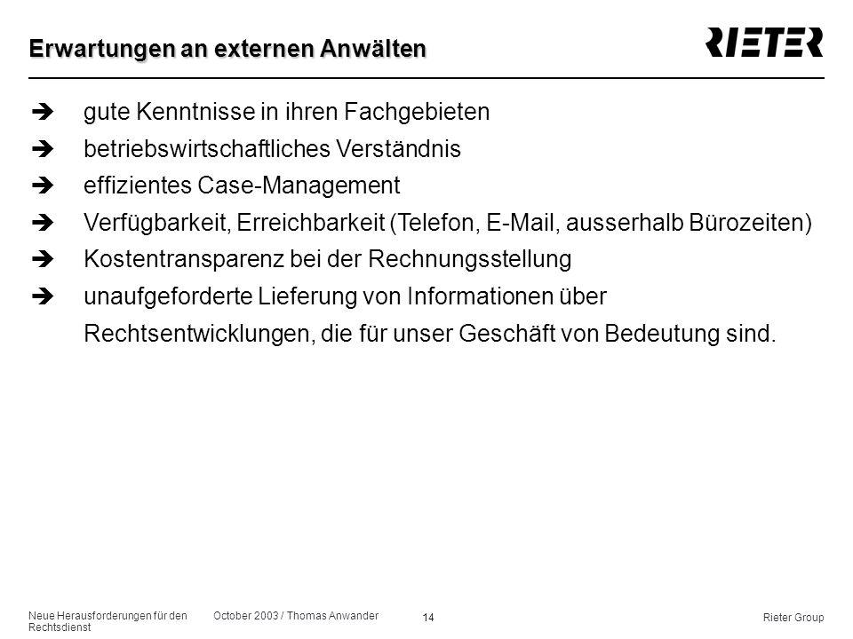 Neue Herausforderungen für den Rechtsdienst October 2003 / Thomas Anwander 14Rieter Group Erwartungen an externen Anwälten ègute Kenntnisse in ihren F