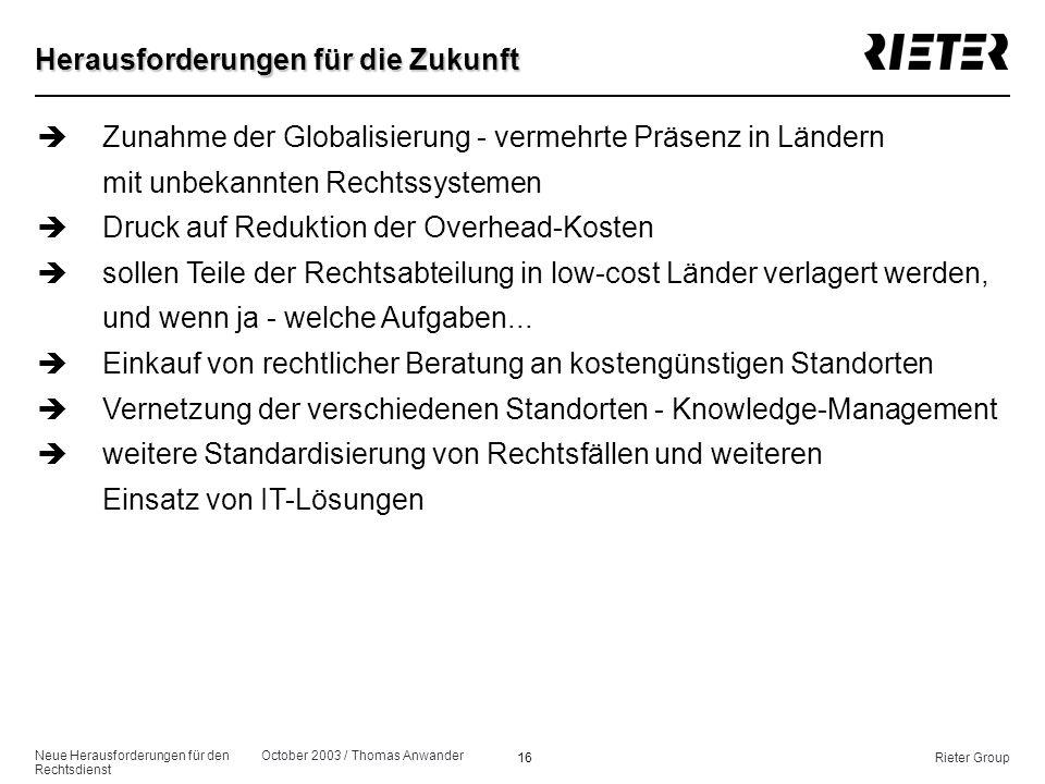 Neue Herausforderungen für den Rechtsdienst October 2003 / Thomas Anwander 16Rieter Group Herausforderungen für die Zukunft èZunahme der Globalisierun