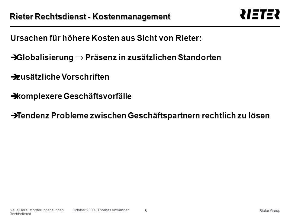 Neue Herausforderungen für den Rechtsdienst October 2003 / Thomas Anwander 8Rieter Group Rieter Rechtsdienst - Kostenmanagement Ursachen für höhere Ko