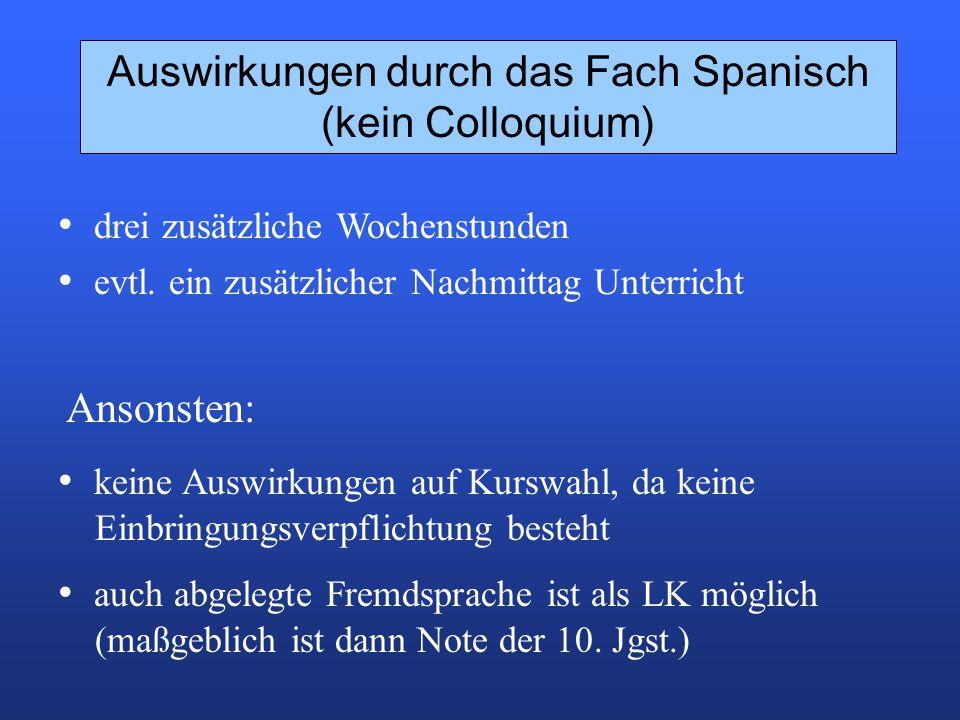 Auswirkungen durch das Fach Spanisch (kein Colloquium) keine Auswirkungen auf Kurswahl, da keine Einbringungsverpflichtung besteht drei zusätzliche Wochenstunden evtl.