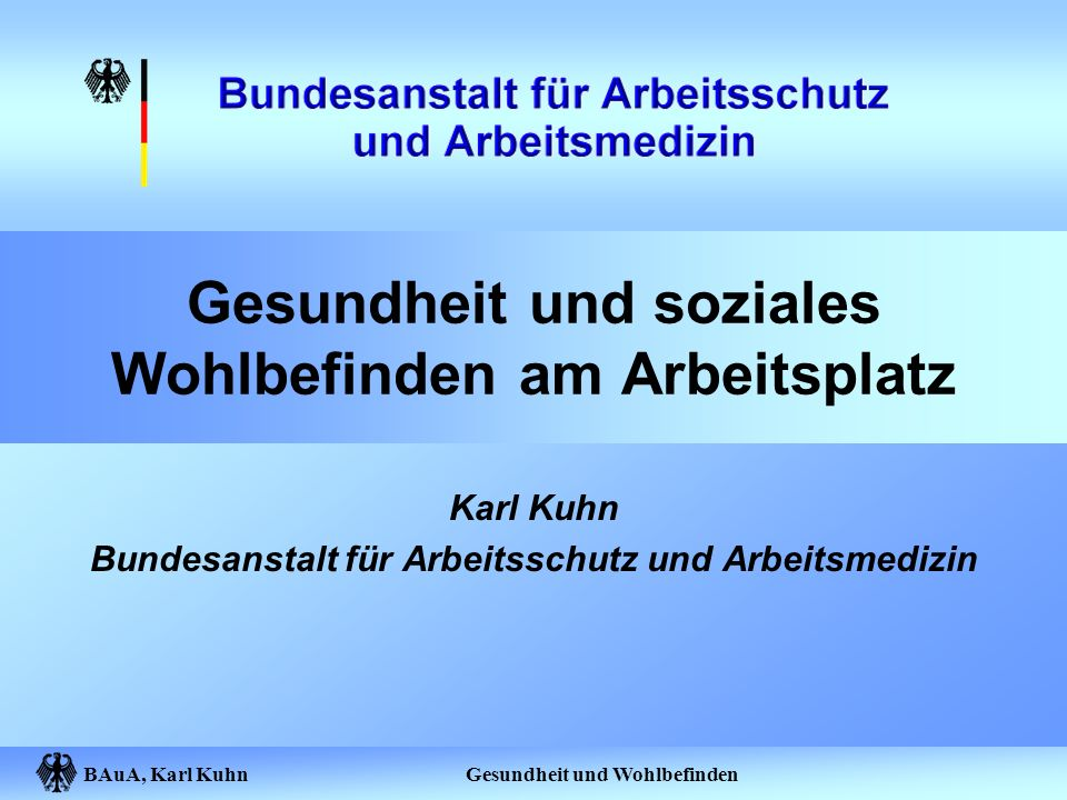 BAuA, Karl Kuhn Gesundheit und Wohlbefinden Gesundheit und soziales Wohlbefinden am Arbeitsplatz Karl Kuhn Bundesanstalt für Arbeitsschutz und Arbeits