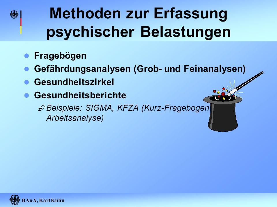 BAuA, Karl Kuhn Methoden zur Erfassung psychischer Belastungen Fragebögen Gefährdungsanalysen (Grob- und Feinanalysen) Gesundheitszirkel Gesundheitsbe