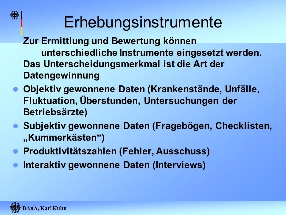 BAuA, Karl Kuhn Erhebungsinstrumente Zur Ermittlung und Bewertung können unterschiedliche Instrumente eingesetzt werden. Das Unterscheidungsmerkmal is