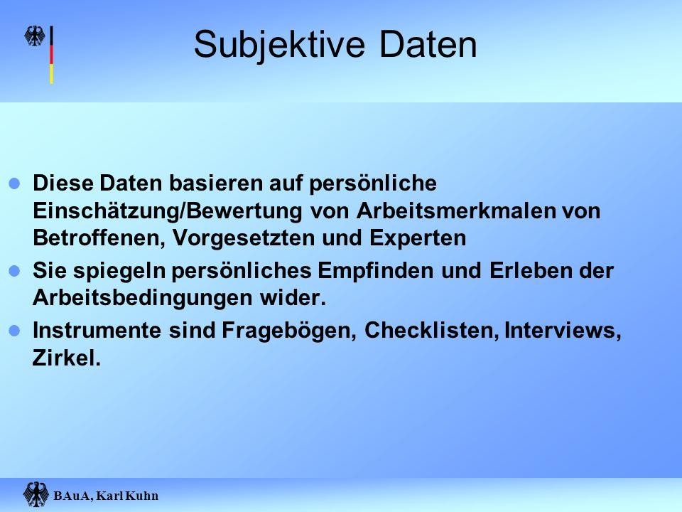 BAuA, Karl Kuhn Subjektive Daten Diese Daten basieren auf persönliche Einschätzung/Bewertung von Arbeitsmerkmalen von Betroffenen, Vorgesetzten und Ex