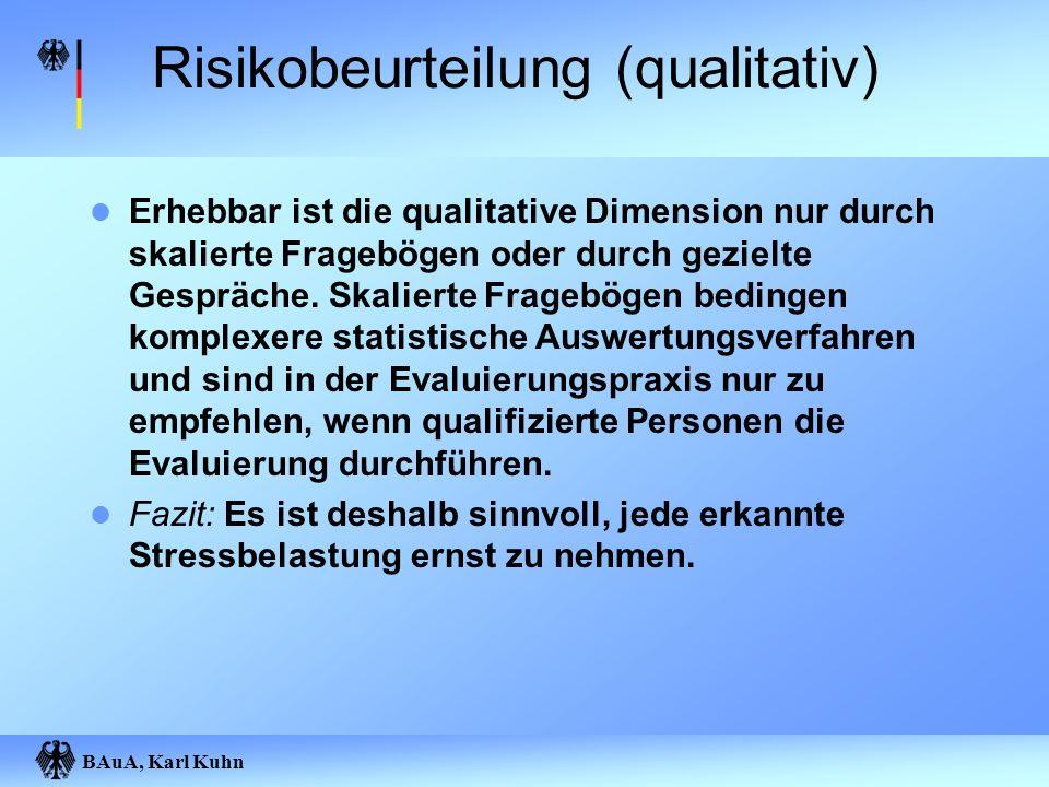 BAuA, Karl Kuhn Risikobeurteilung (qualitativ) Erhebbar ist die qualitative Dimension nur durch skalierte Fragebögen oder durch gezielte Gespräche. Sk