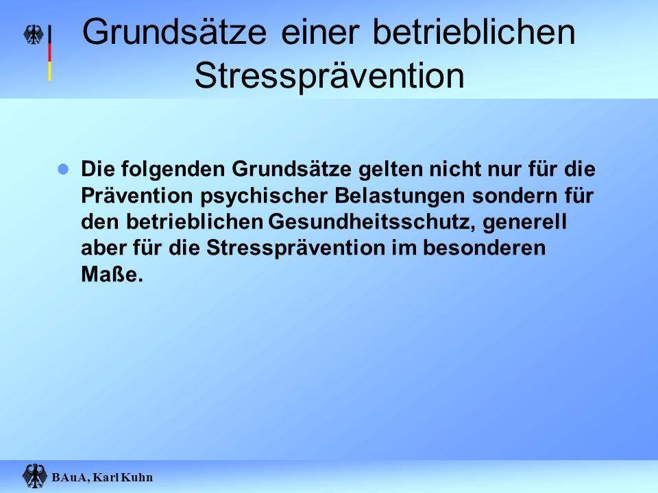 BAuA, Karl Kuhn Grundsätze einer betrieblichen Stressprävention Die folgenden Grundsätze gelten nicht nur für die Prävention psychischer Belastungen s