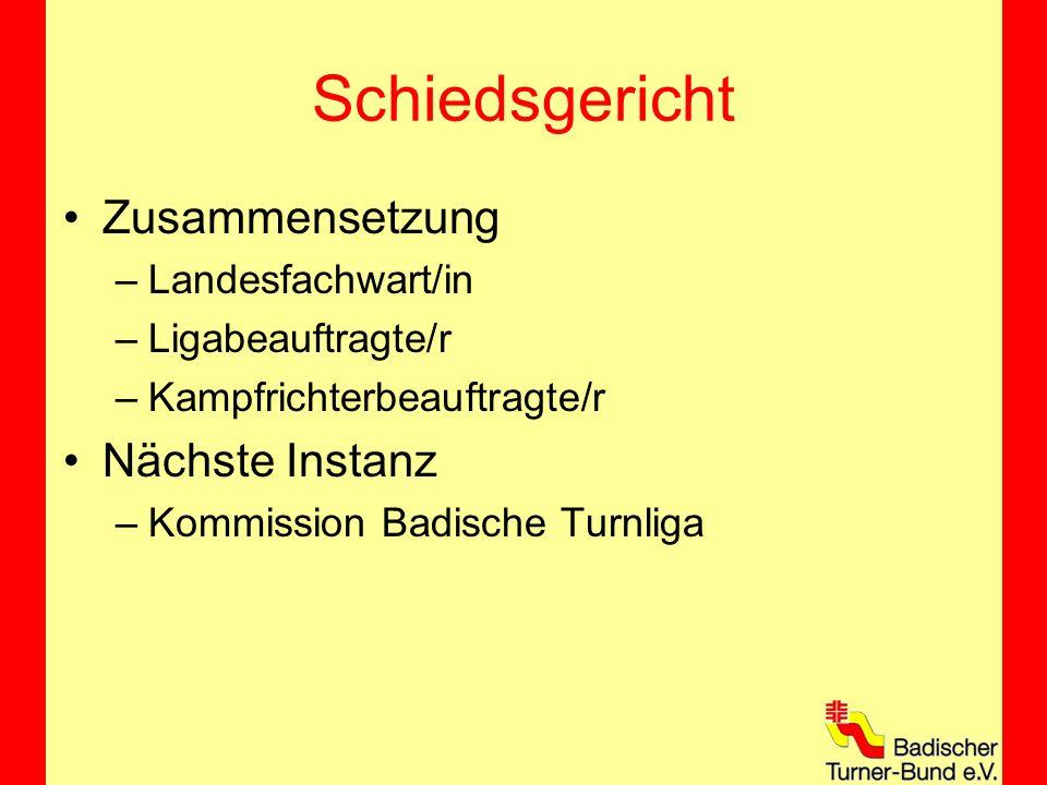 Schiedsgericht Zusammensetzung –Landesfachwart/in –Ligabeauftragte/r –Kampfrichterbeauftragte/r Nächste Instanz –Kommission Badische Turnliga