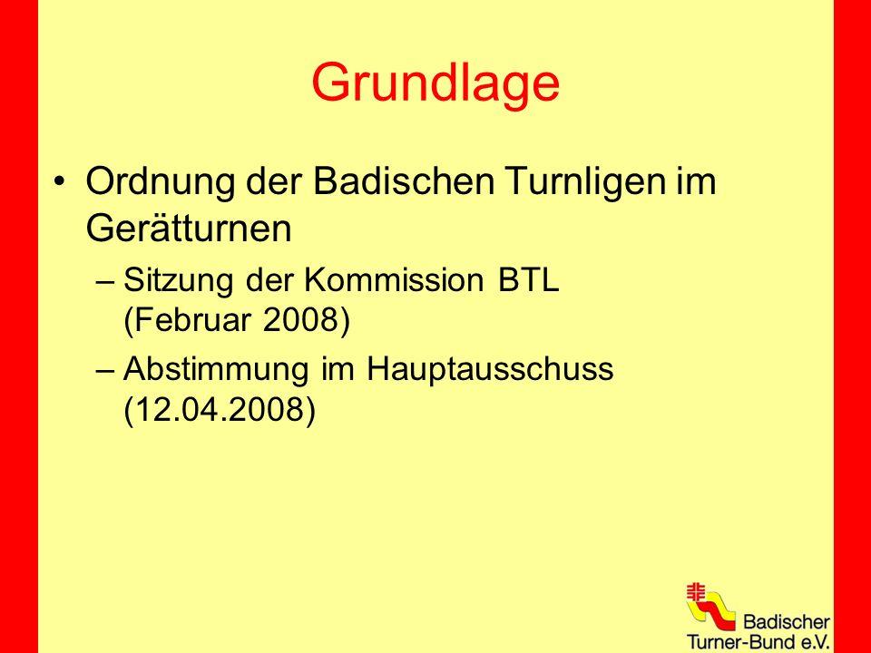 Grundlage Ordnung der Badischen Turnligen im Gerätturnen –Sitzung der Kommission BTL (Februar 2008) –Abstimmung im Hauptausschuss (12.04.2008)