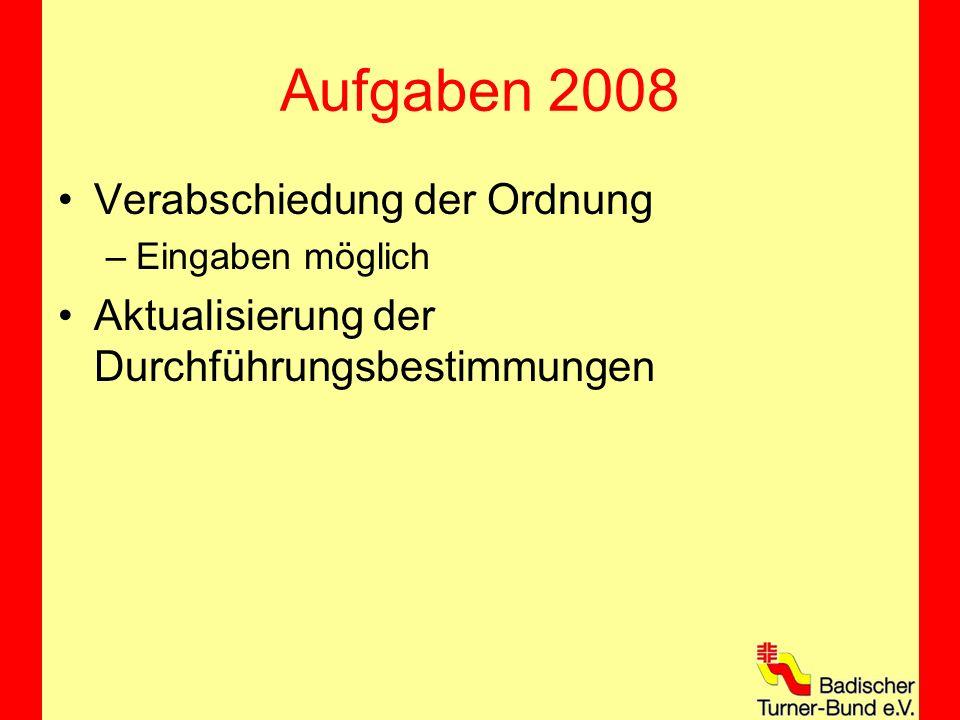 Aufgaben 2008 Verabschiedung der Ordnung –Eingaben möglich Aktualisierung der Durchführungsbestimmungen