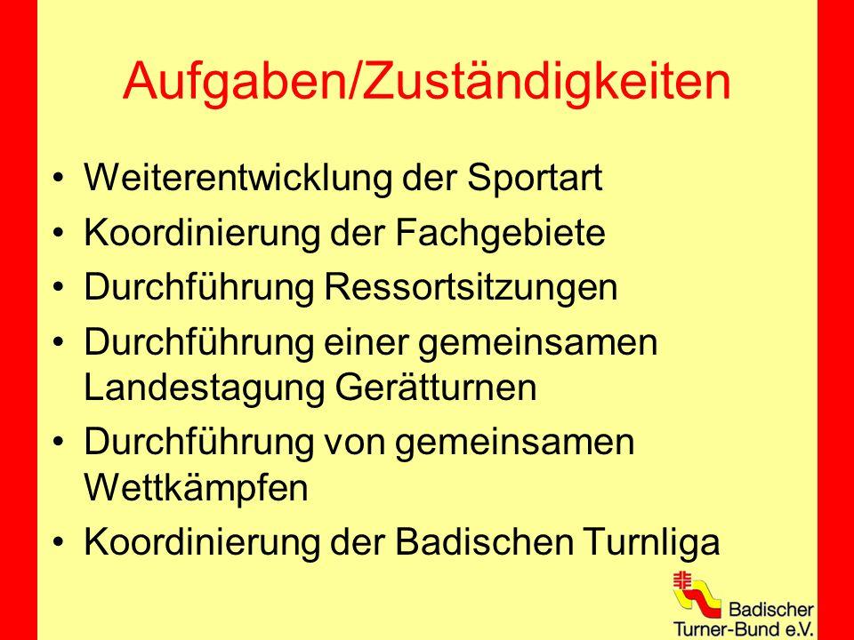 Aufgaben/Zuständigkeiten Weiterentwicklung der Sportart Koordinierung der Fachgebiete Durchführung Ressortsitzungen Durchführung einer gemeinsamen Landestagung Gerätturnen Durchführung von gemeinsamen Wettkämpfen Koordinierung der Badischen Turnliga