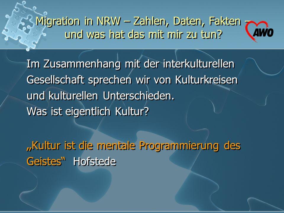 Migration in NRW – Zahlen, Daten, Fakten – und was hat das mit mir zu tun? Im Zusammenhang mit der interkulturellen Gesellschaft sprechen wir von Kult