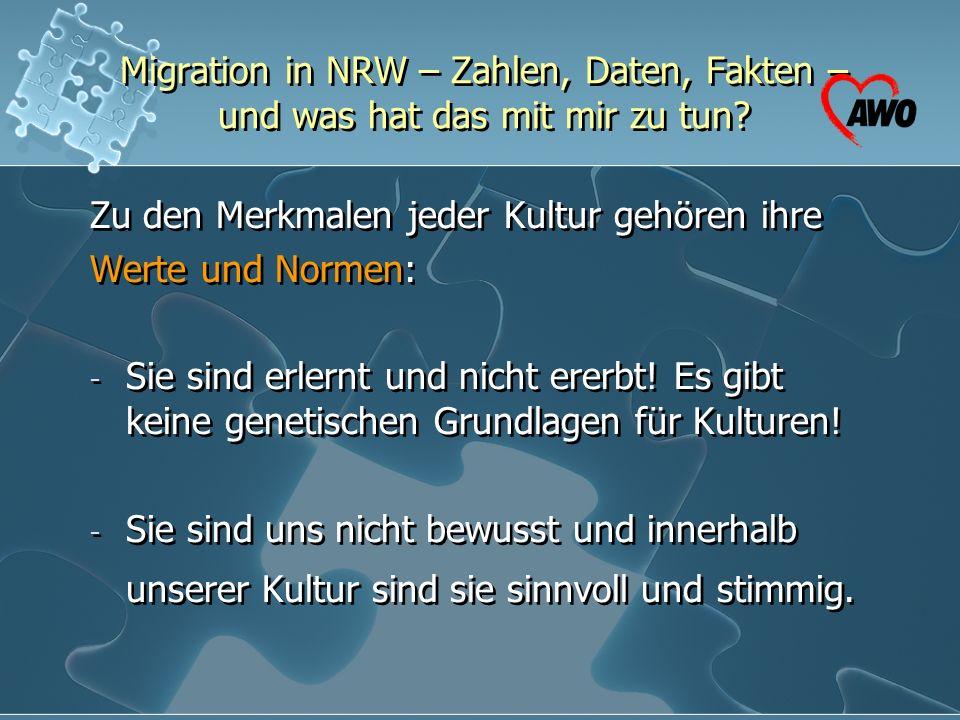 Migration in NRW – Zahlen, Daten, Fakten – und was hat das mit mir zu tun? Zu den Merkmalen jeder Kultur gehören ihre Werte und Normen: - Sie sind erl