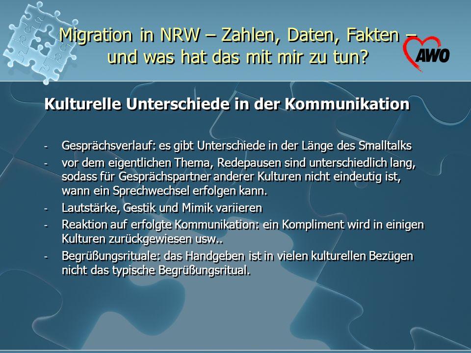 Migration in NRW – Zahlen, Daten, Fakten – und was hat das mit mir zu tun? Kulturelle Unterschiede in der Kommunikation - Gesprächsverlauf: es gibt Un