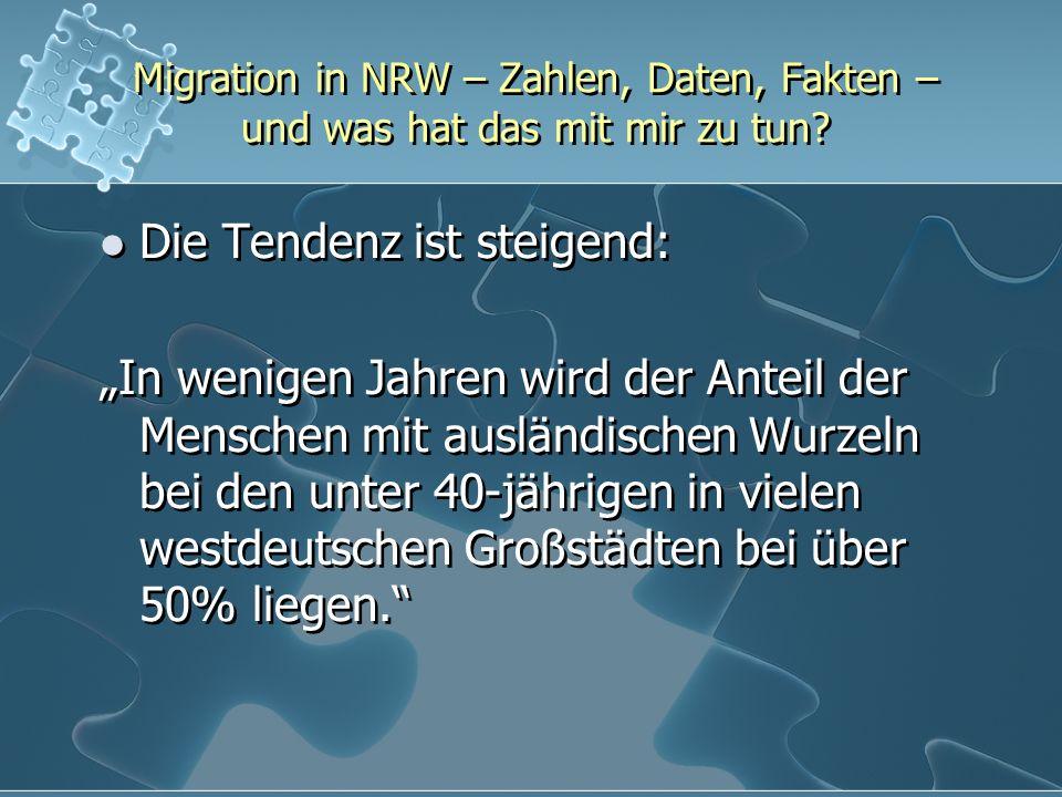 Migration in NRW – Zahlen, Daten, Fakten – und was hat das mit mir zu tun? Die Tendenz ist steigend: In wenigen Jahren wird der Anteil der Menschen mi