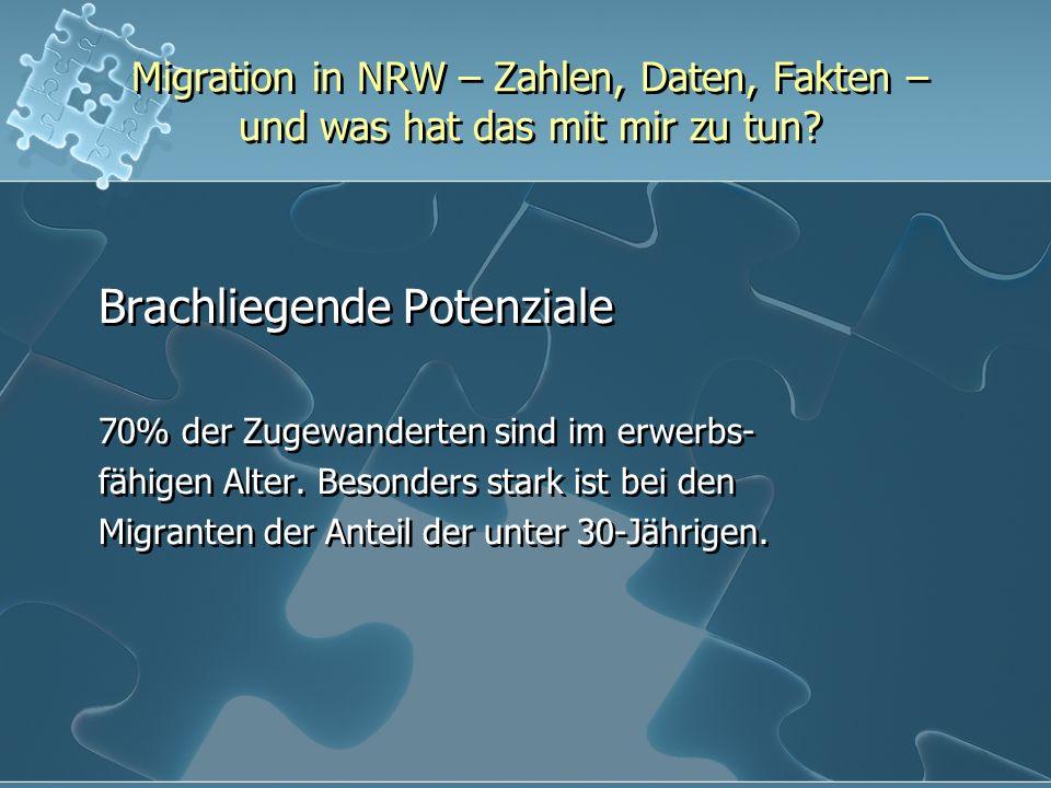 Migration in NRW – Zahlen, Daten, Fakten – und was hat das mit mir zu tun? Brachliegende Potenziale 70% der Zugewanderten sind im erwerbs- fähigen Alt