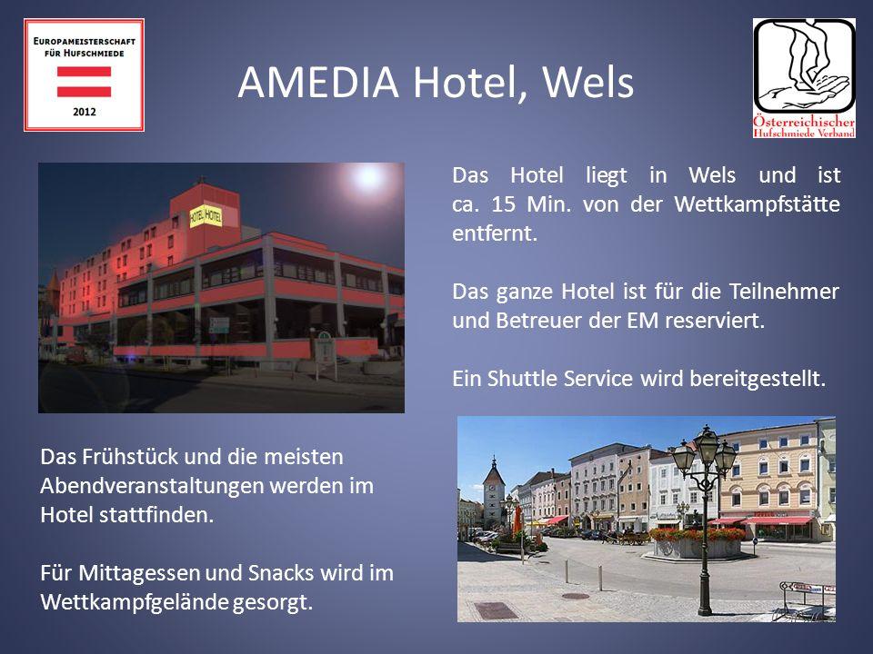 Das Hotel liegt in Wels und ist ca.15 Min. von der Wettkampfstätte entfernt.